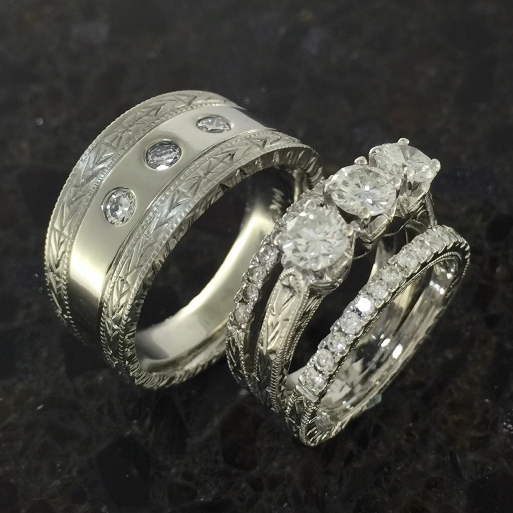 Wedding bands to match hand engraved engagement ring Atlas