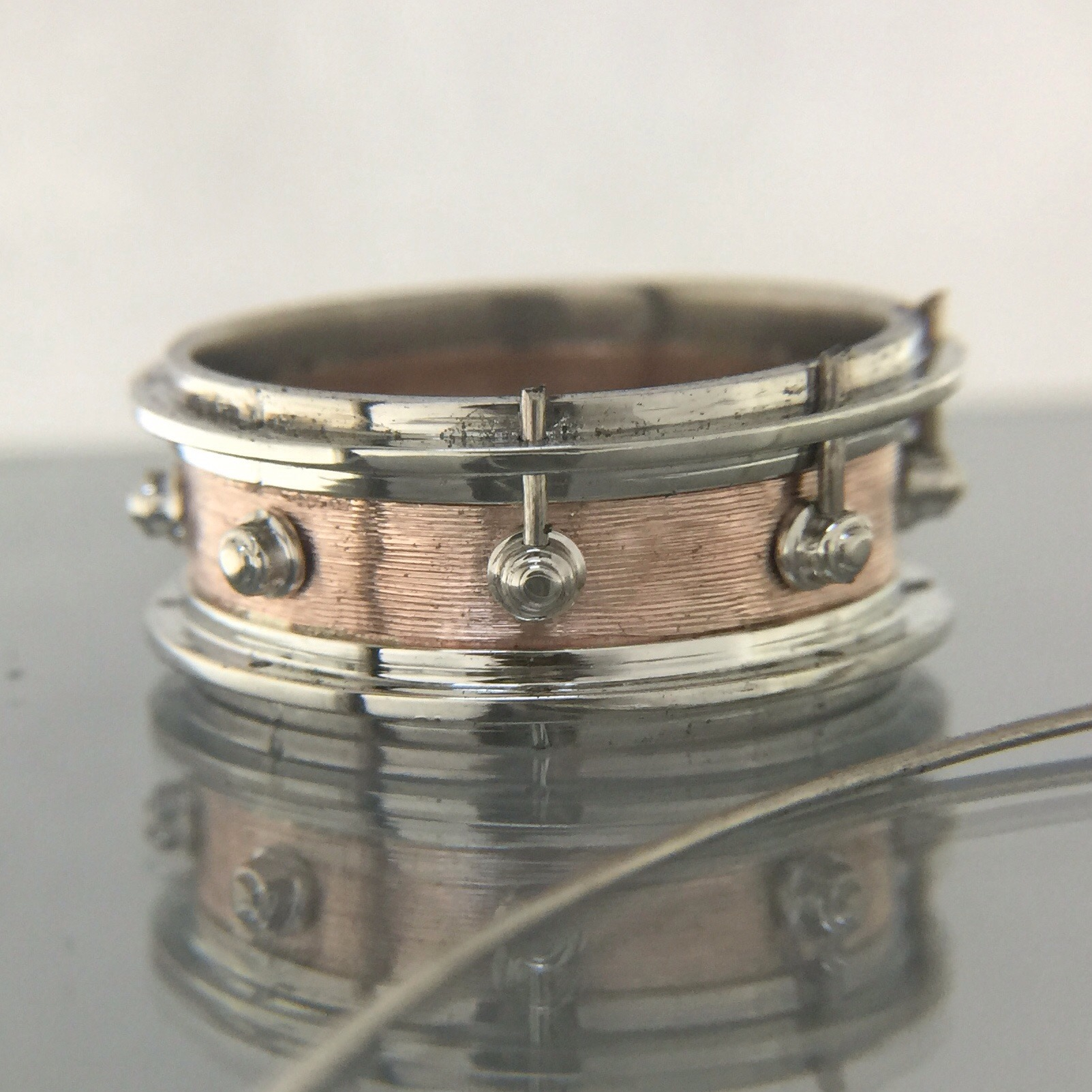 Rose And White Gold Dw Snare Drum Wedding Ring Atlas